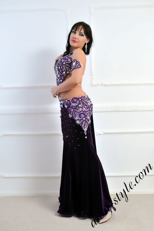 designer's belly dance costume in deep purple color by Aida Style