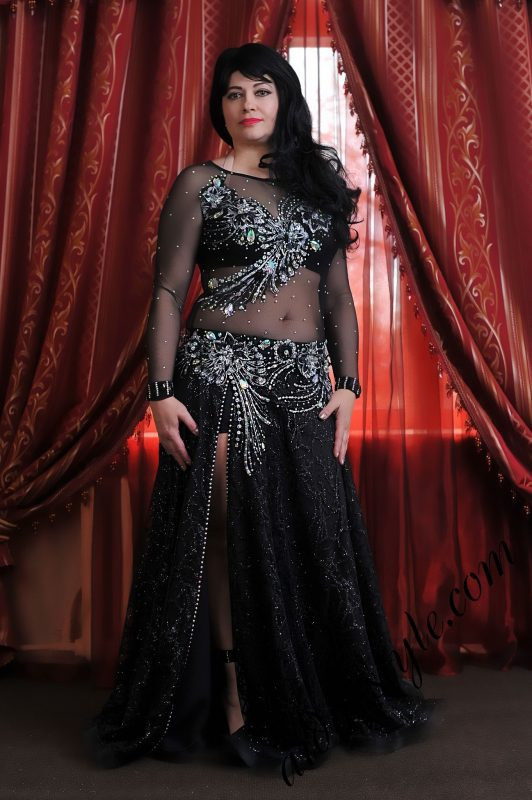 noir black full coverage belly dance costume by Aida Style with flare double layered skirt. Covers whole body