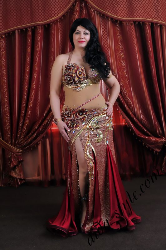 Bordeaux belly dance outfit for XL size by Aida Style with golden decoration