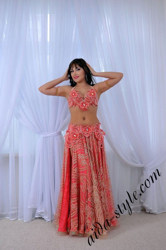 pink - coral belly dance outfit by Aida Style with flare double layered skirt and charming lace decoration