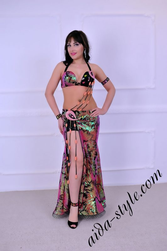 multicolored designer's belly dance costume by Aida Style, simple and clean design