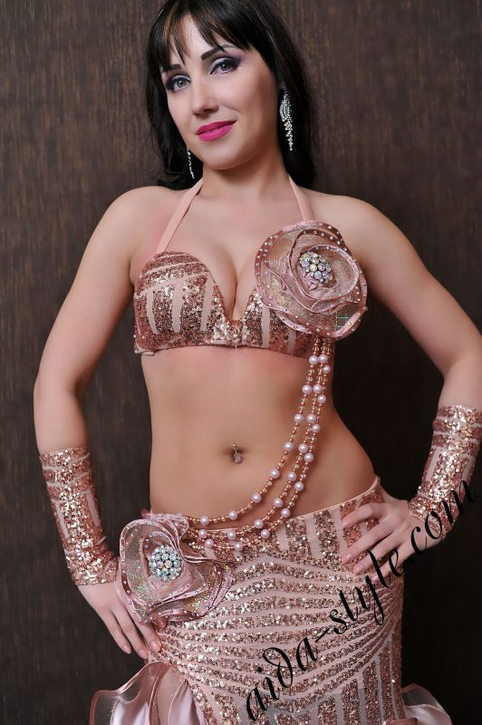 flirty coffee-colored designer's belly dance costume by Aida Style