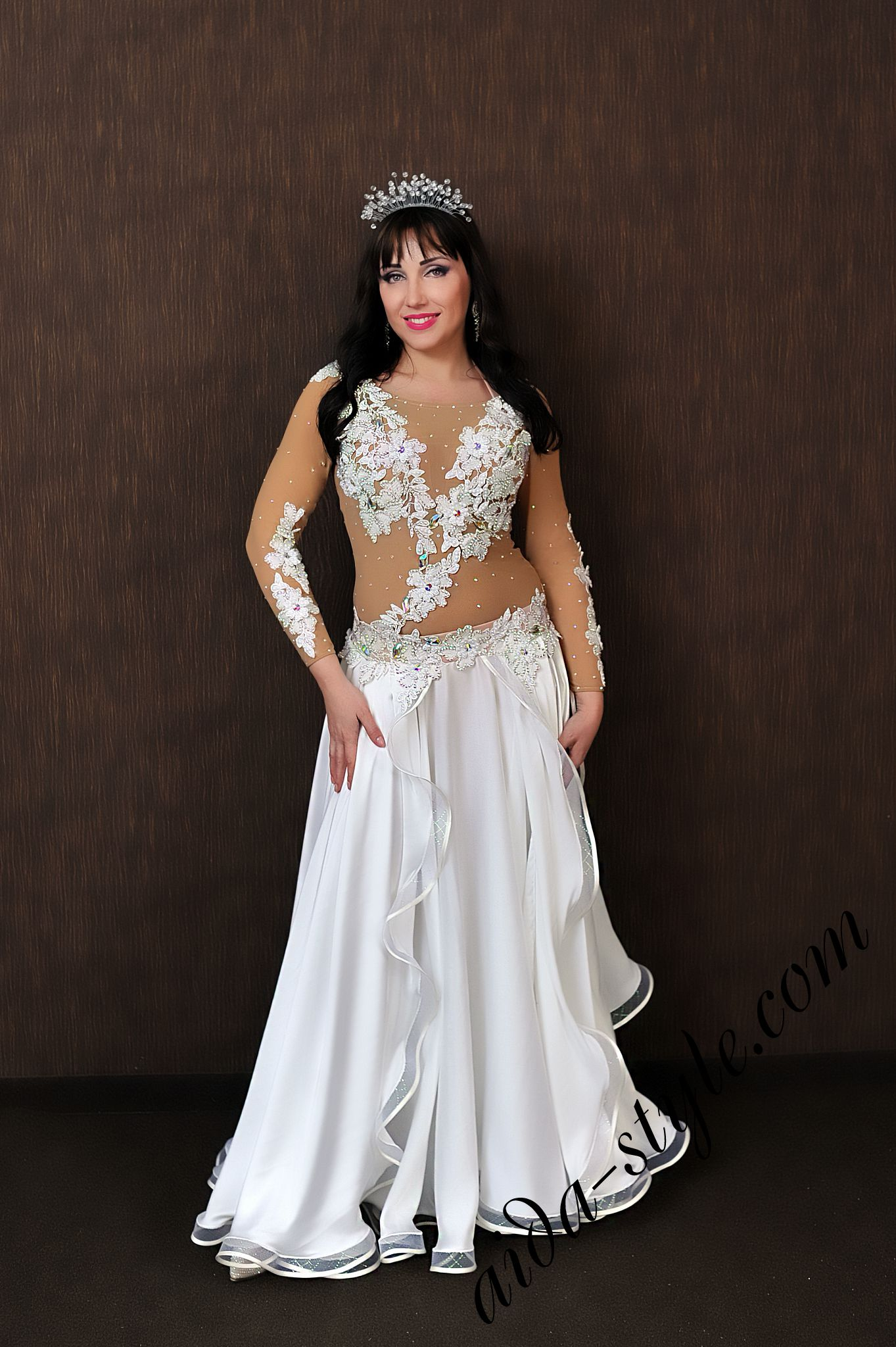 White Fully Covered Belly Dance Costume Aida Style