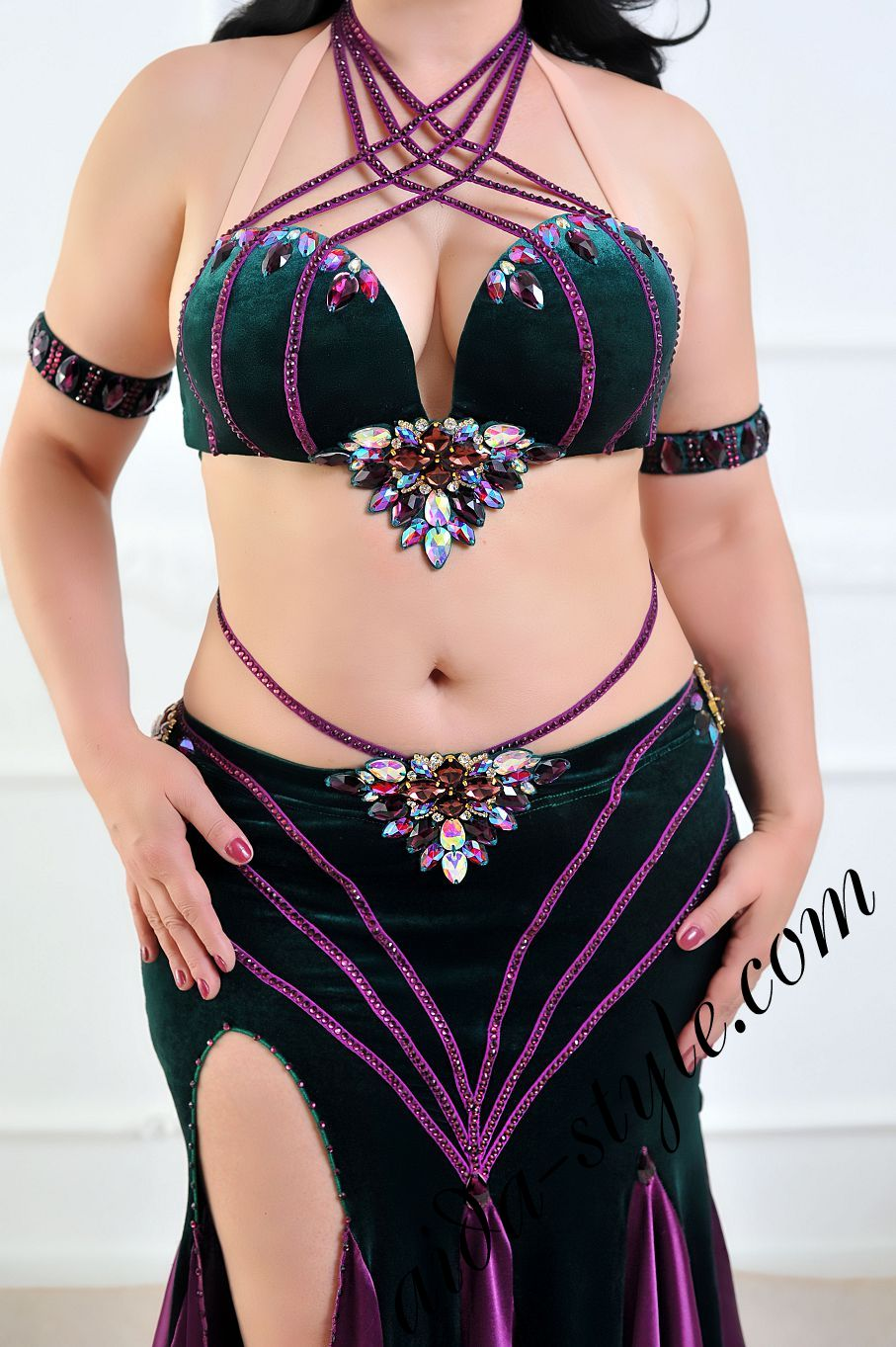aida style belly dance costume in velvet