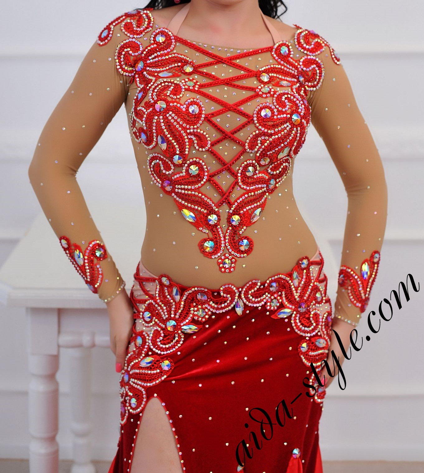 b21cca722d54 Full Coverage Red Belly Dance Costume – Aida Style
