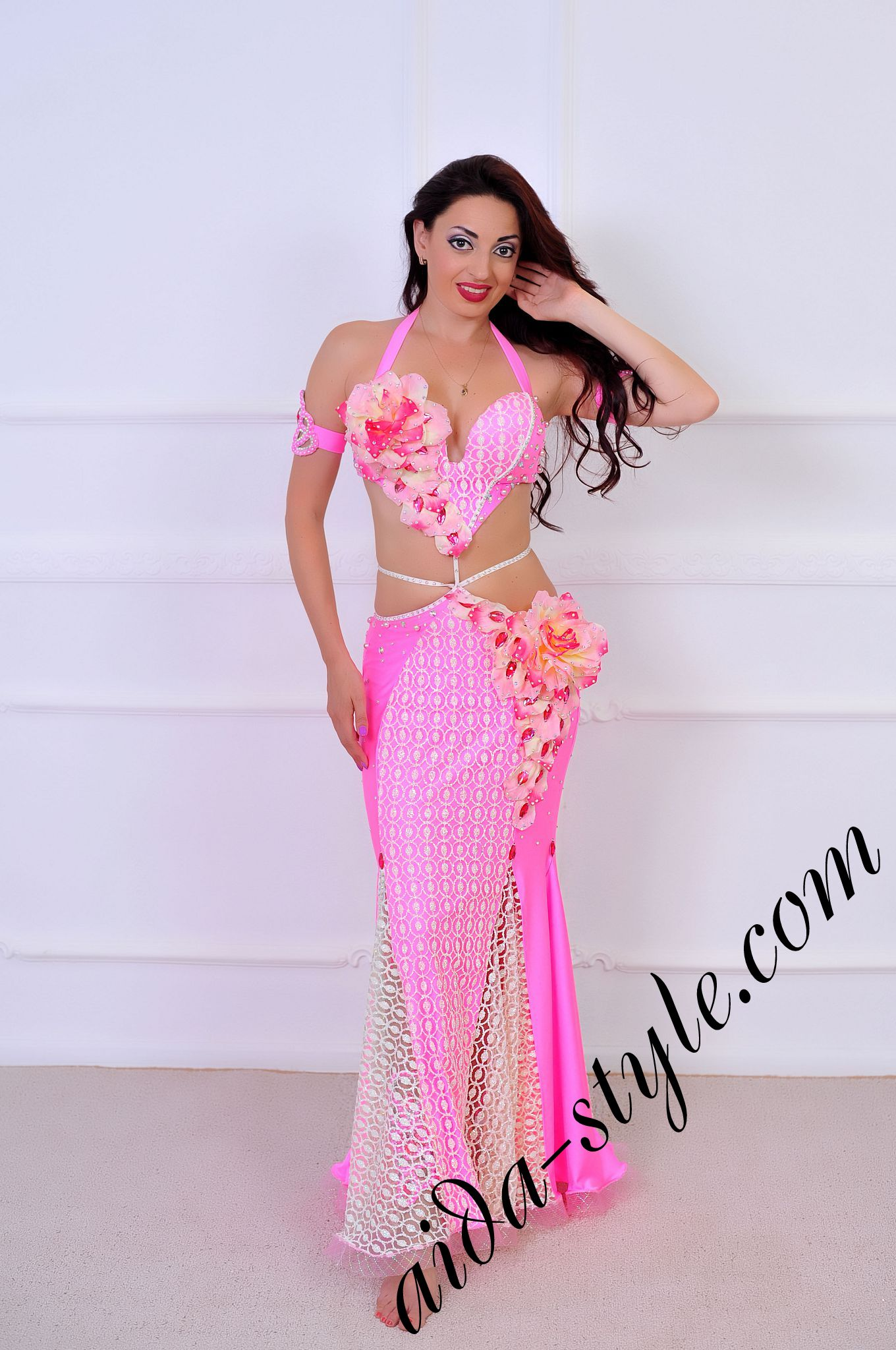 Floral light pink belly dance costume aida style floral light pink belly dance costume mightylinksfo