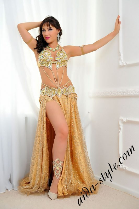 aida design golden belly dance costume with circular skirt (4)