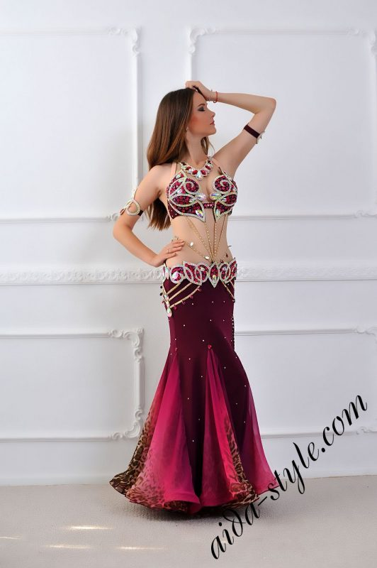bordeaux belly dance costume mermaid skirt by aida style (4)