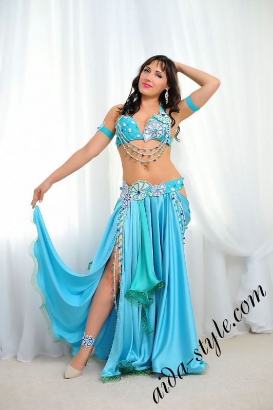 light blue belly dance costume with circular skirt aida design (1)