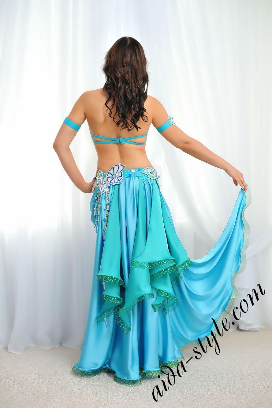 light blue belly dance costume with circular skirt aida design (1)