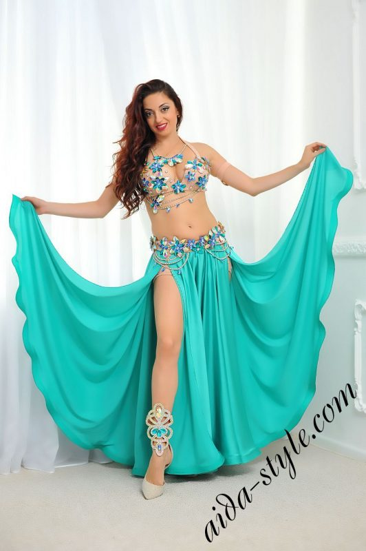 navy belly dance costume with circular skirt, detachable separate belt by aida style (1)