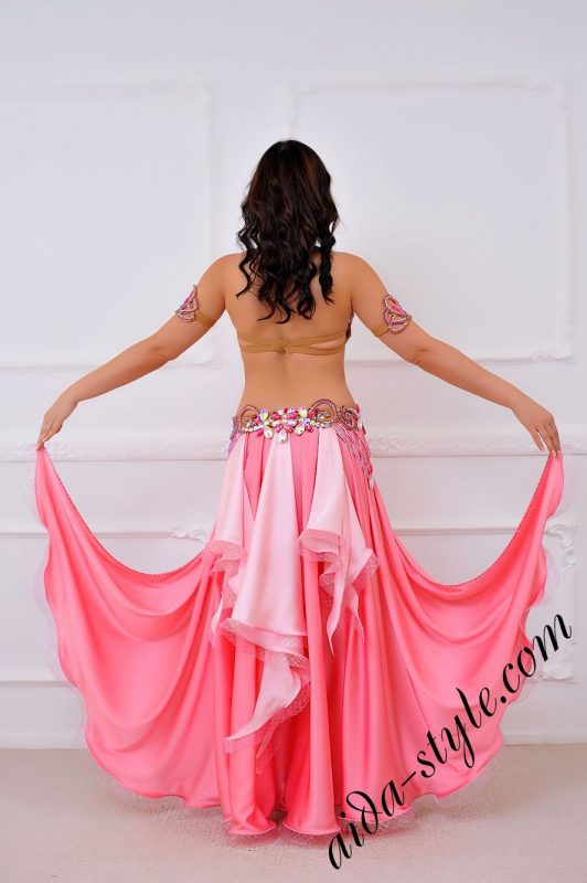 pink belly dance costume with wide circular skirt, detachable separate skirt by aida style (4)