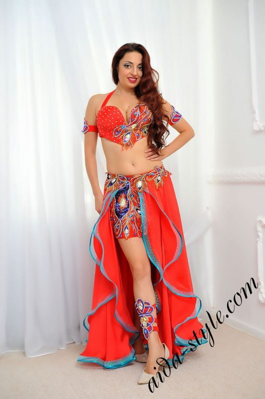 red & blue belly dance costume with circular skirt by aida (1)