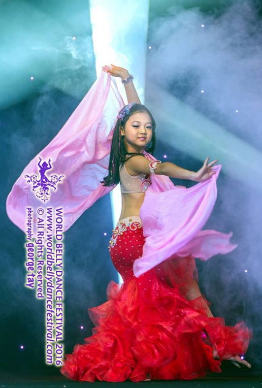 Jackline from Singapore in her custom made designer's belly dance costume by Aida Style