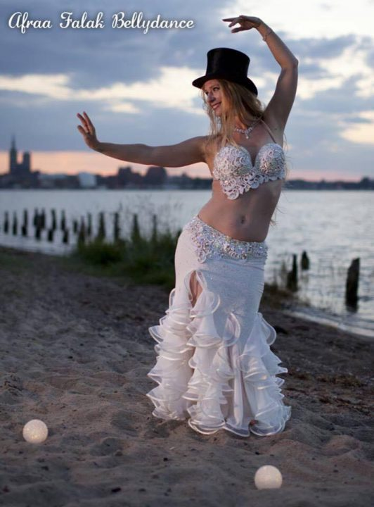 White belly dance costume for Afraa Falak Bellydance