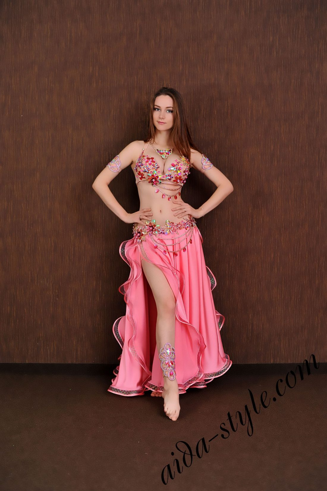 bra and detachable belt set for belly dance with full circle two layered pink circular sateen skirt (1)