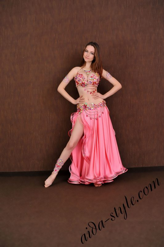 bra and belt set for belly dance with full circle two layered pink circular sateen skirt (1)