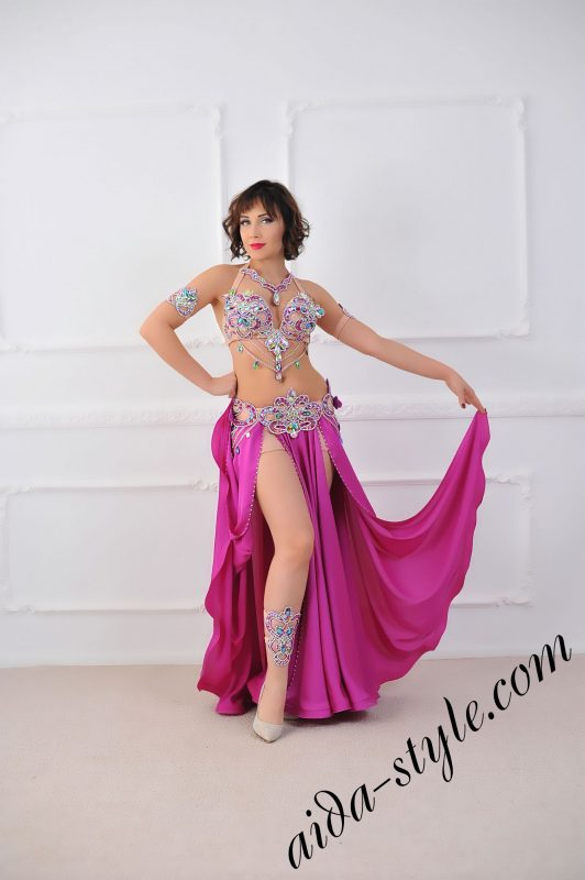 magenta bra and belt set for pro belly dancer with wide circular skirt with underpants and separate detachable belt