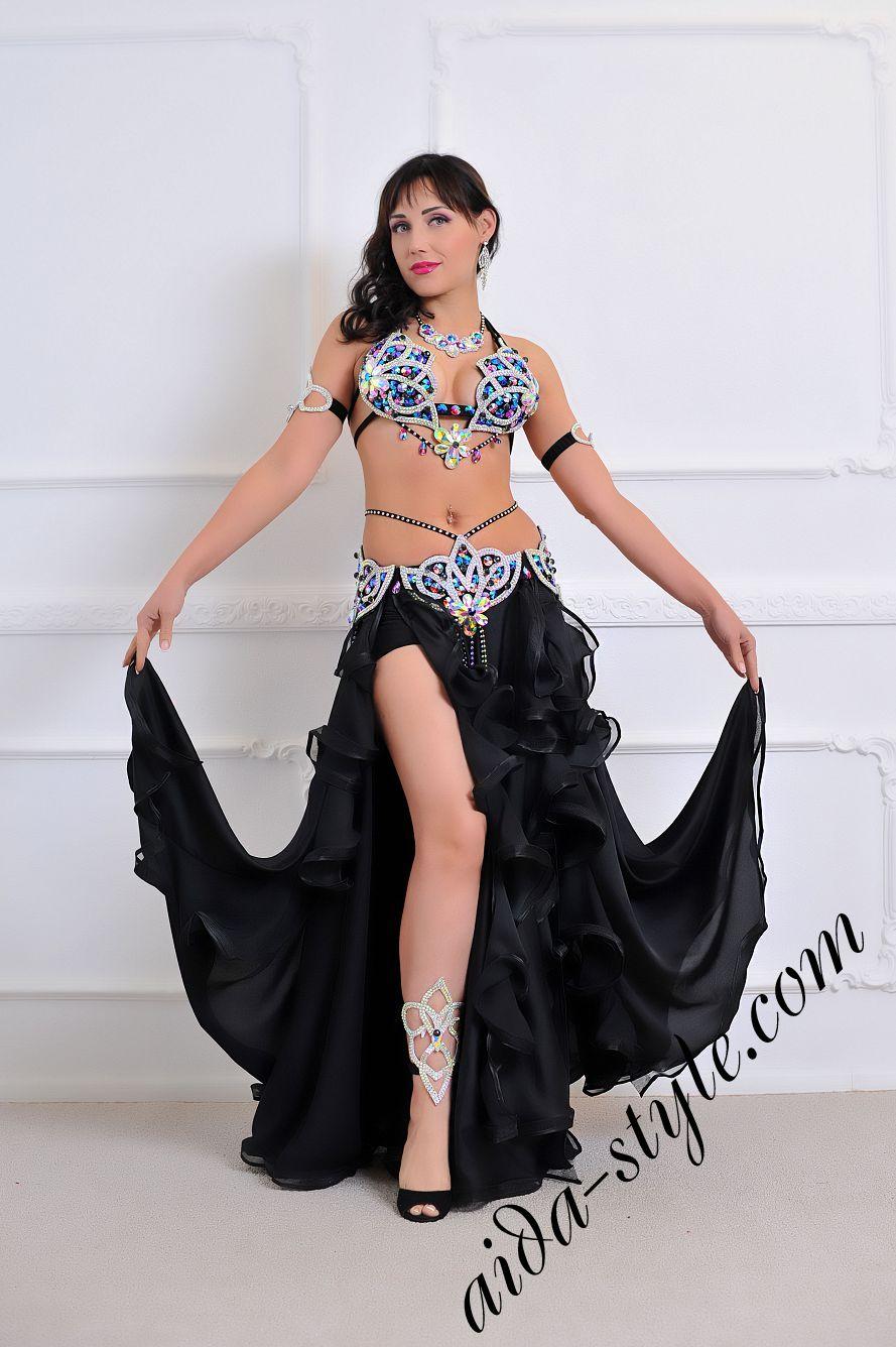 bra and belt set with black circular skirt