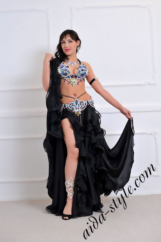 bra and belt set with black circular skirt