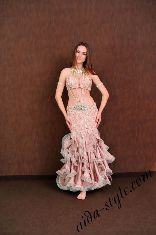 coffee colored sexy belly dance dress with fitted skirt _ gives extra volume to breasts and hips by aida style