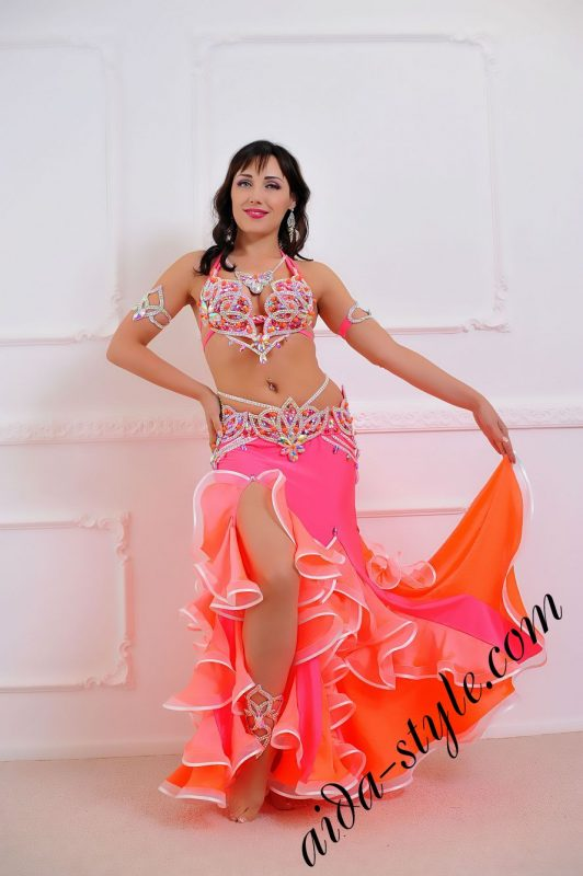 coral and pink oriental bra with detachable belt with mermaid skirt