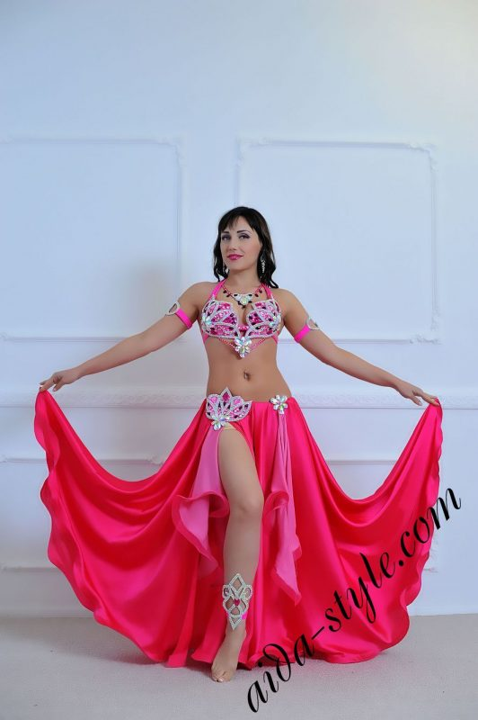 hot pink belly dance costume with circular skirt