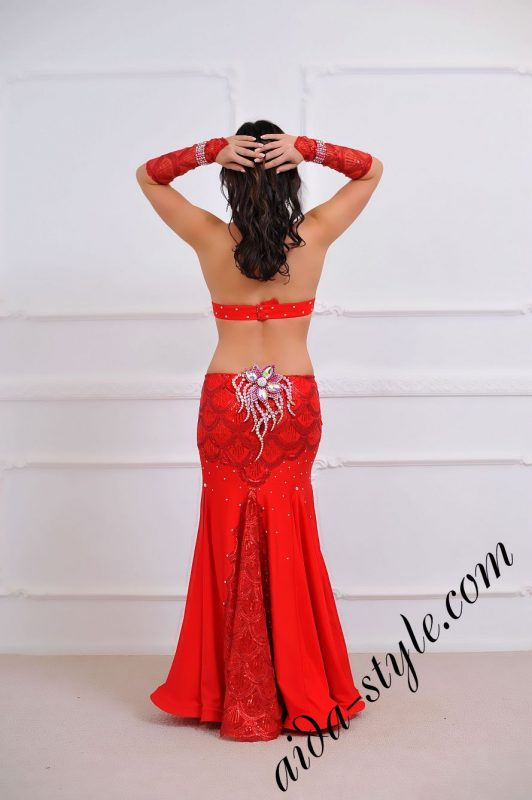 hot red oriental costume with mermaid skirt