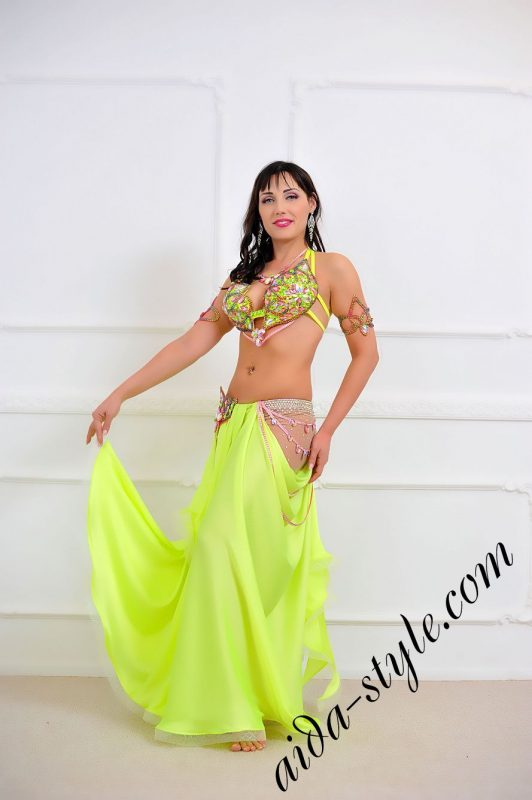lemon oriental costume with multicolor decoration and semi circular skirt with nude hip