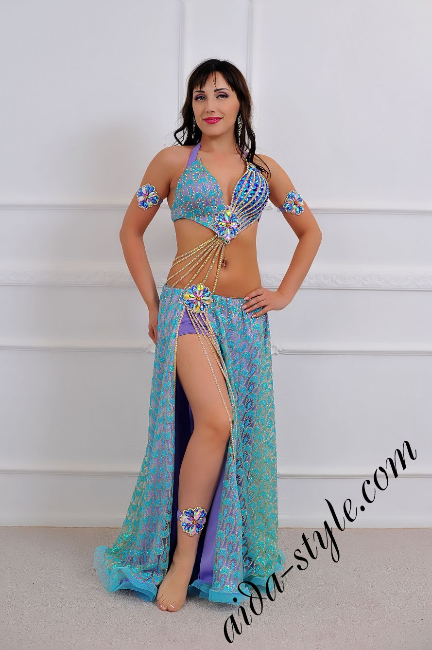light blue oriental costume for belly dancing with wide circular double skirt