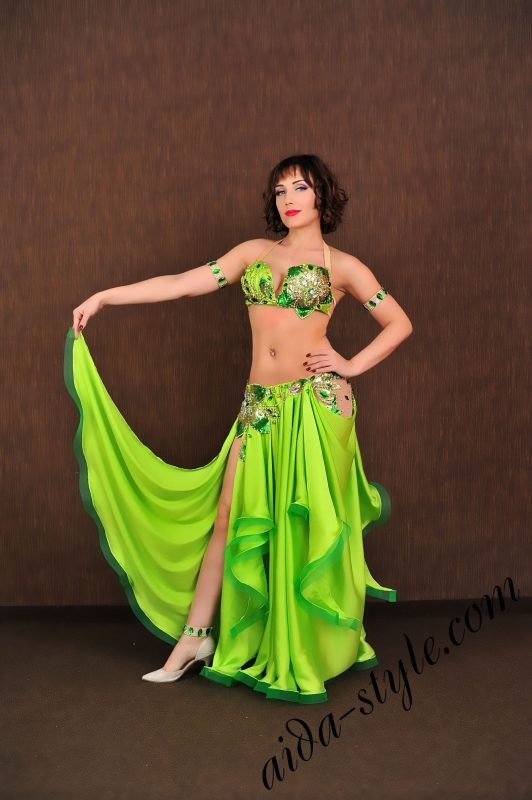 light green costume with semi circular skirt for pro belly dancers