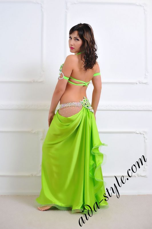 light green oriental costume with semi circular skirt