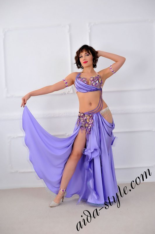 lilac _ light purple oriental arab costume with charming semi circular skirt (4)