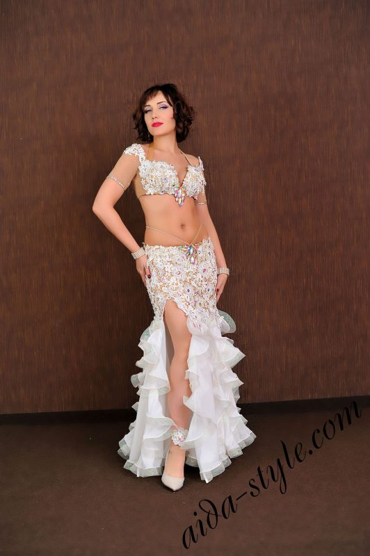 luxurious stage belly dance costumewith thousands of beads and chrystals on bra and curvy mermaid skirt by aida style