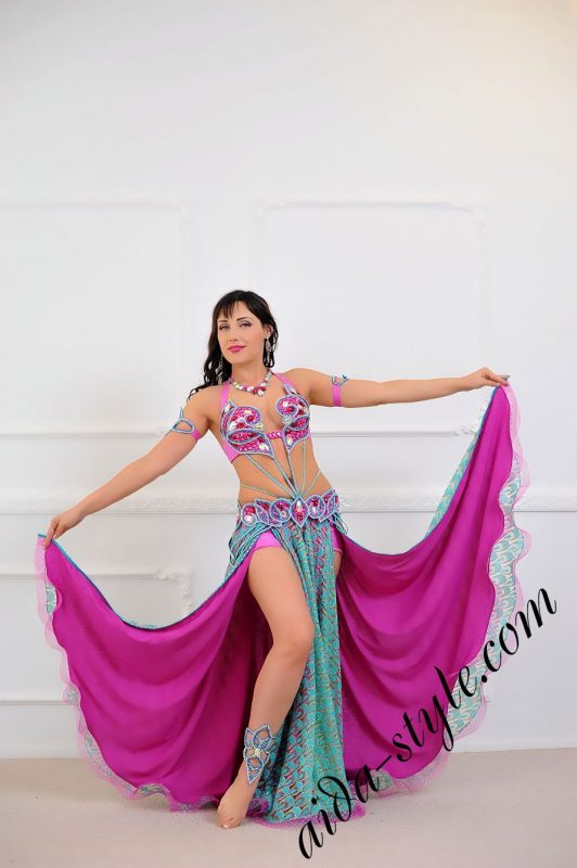 magenta and blue colored oriental outfit with double circular skirt and separate detachable skirt to buy or for order (1)