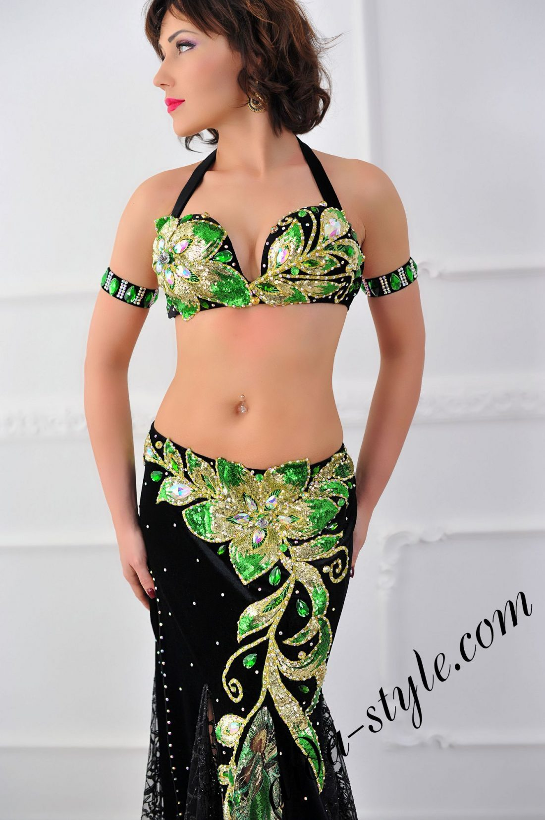 black pro belly dance costume with mermaid skirt