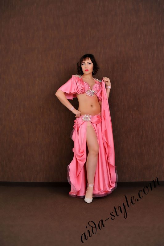 pink princess style belly dance costume with wide circular skirt