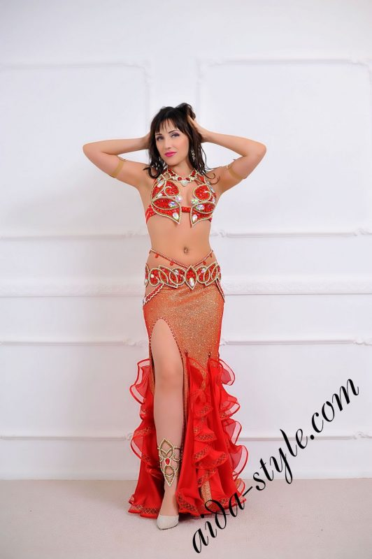 red bra and belt set for oriental dance with mermaid skirt for order