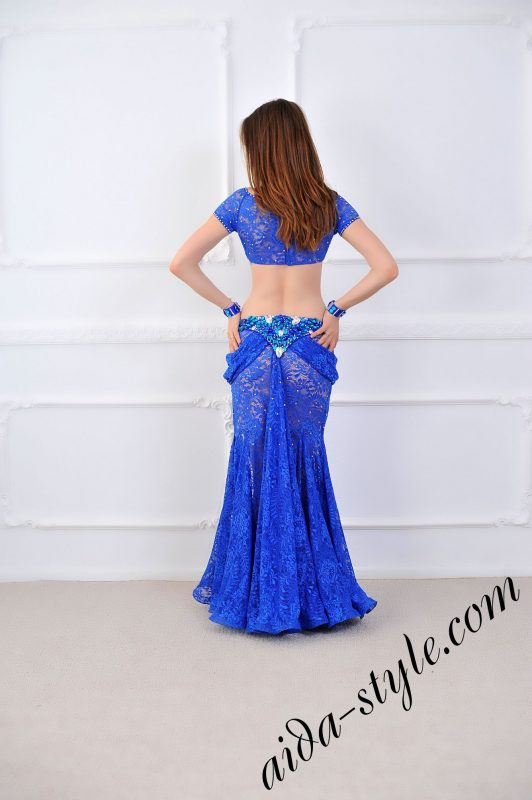 royal blue pro belly dance costume from lace with bolero and mermaid skirt with detachable separate belt