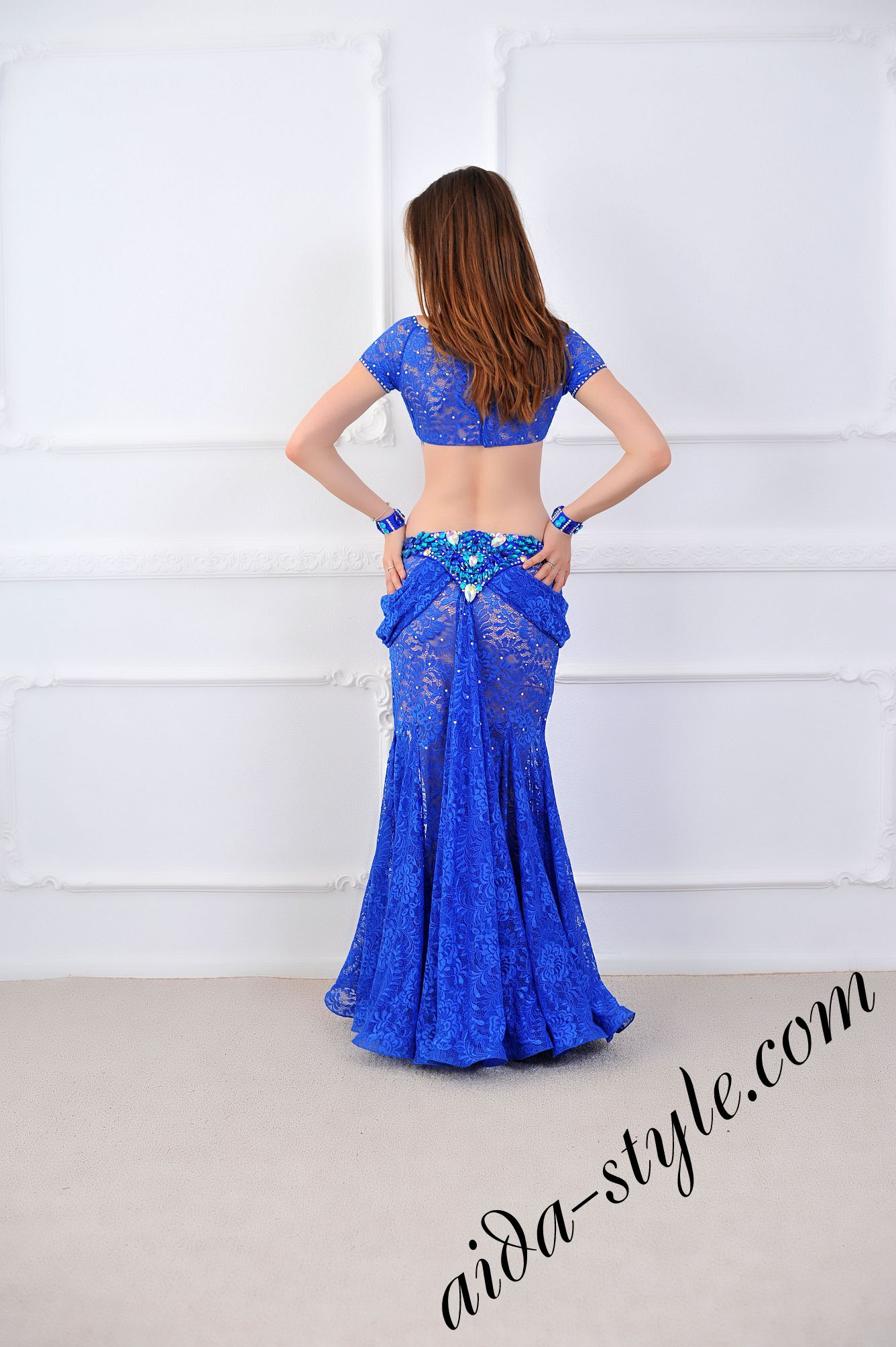royal blue pro belly dance costume from lace with bolero and mermaid skirt (4) & royal blue pro belly dance costume from lace with bolero and mermaid ...
