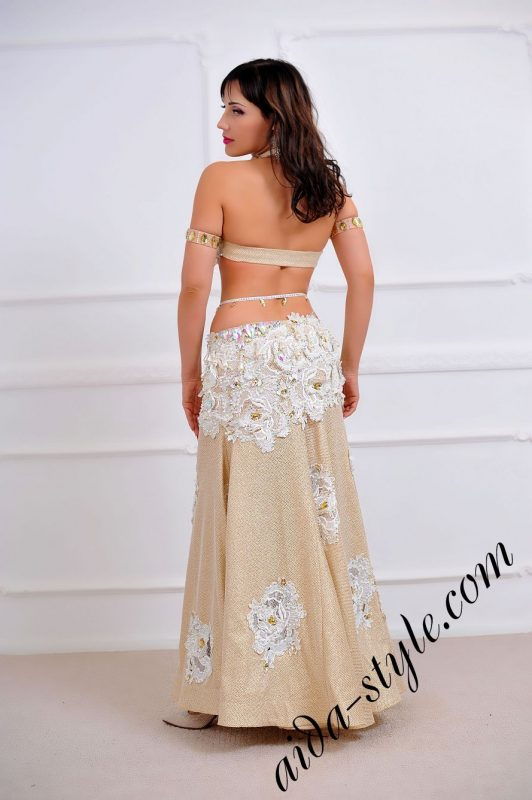 ultra rich and expencive light colored oriental costume for belly dancing by aida style