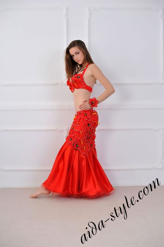 red belly dance 2 in 1 costume with fitted skirt by aida style