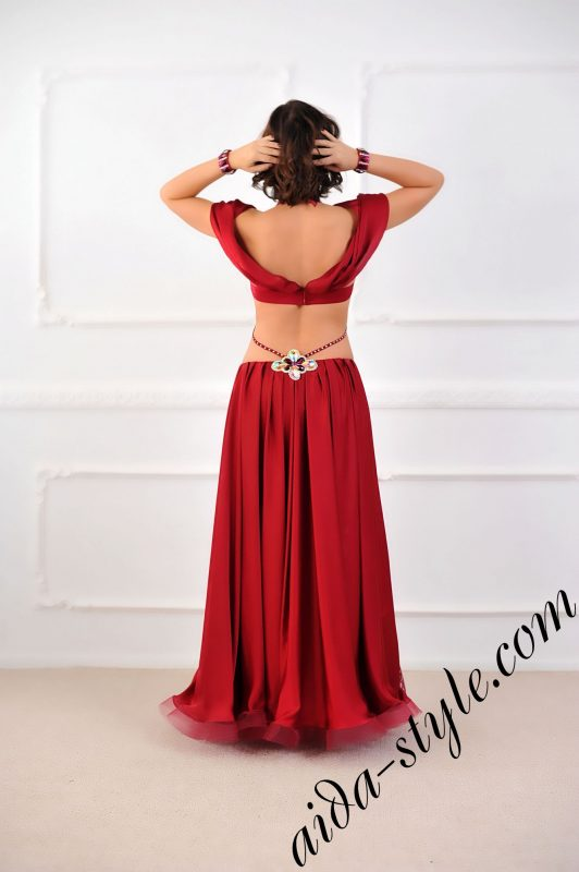 bordeaux belly dance costume with shoulders and nude slits effect by aida style