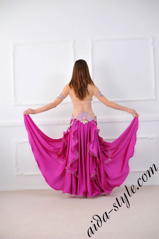 bra and belt for belly dance plus magenta flare free wide circular skirt, belt is separate detachable
