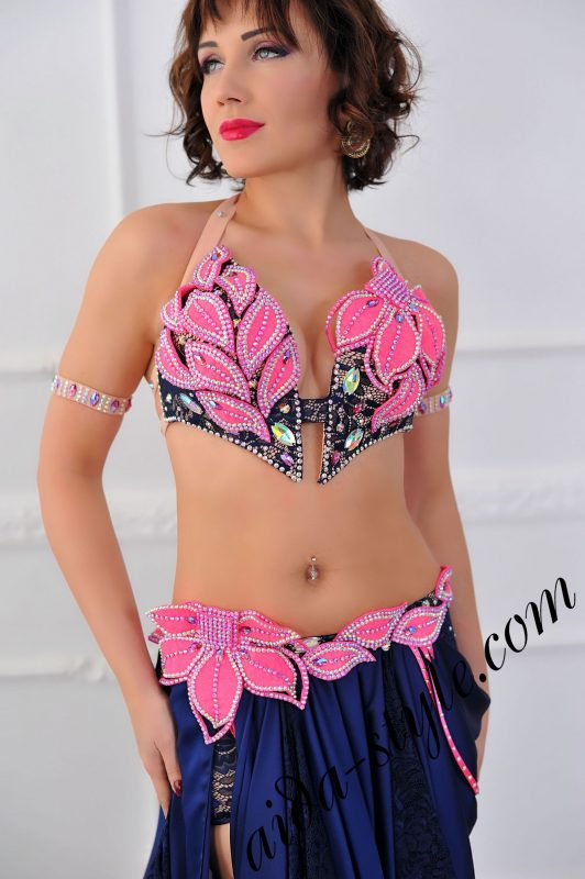 deep blue oriental dress with pink decorations