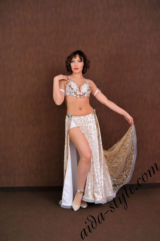 golden white arab costume with wide skirt by aidastyle