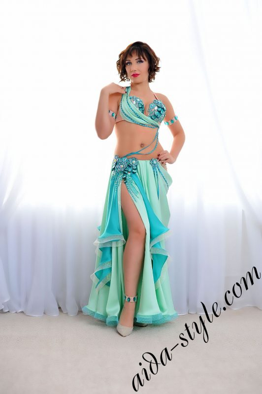 mint arab costume with wide skirt by aida style