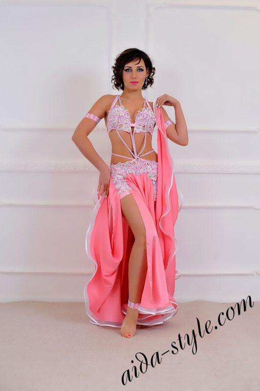 Baby pink Handmade Professional Belly Dance costume, wide circular skirt
