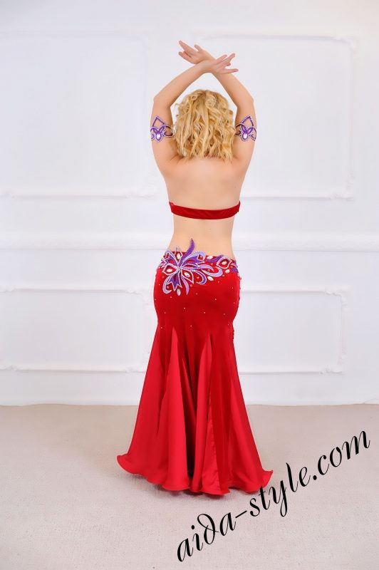 hot red Belly Dance Professional Full Costume with fitted mermaid skirt (1)