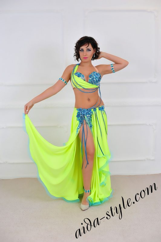 Handmade Professional Belly Dance Outfit in neon yellow and blue by aida style